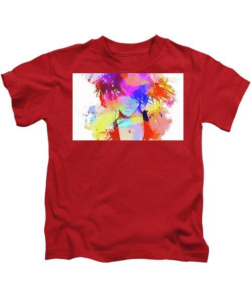 Rihanna Paint Splatter Kids T-Shirt by Dan Sproul