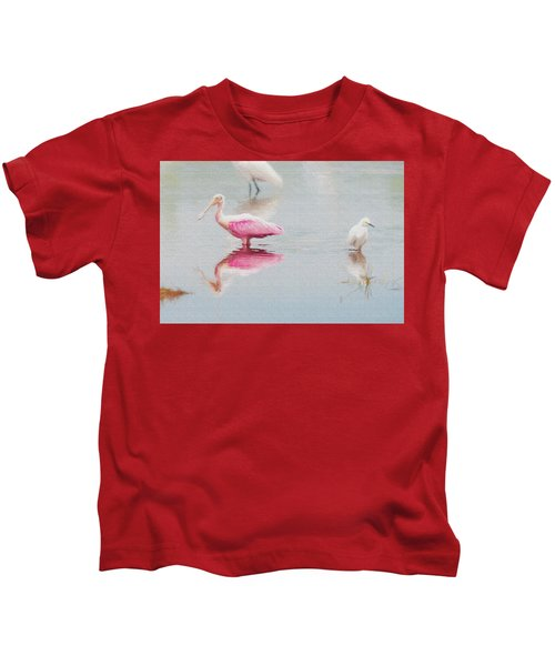 Roseate Spoonbill Eating In A Lagoon Kids T-Shirt