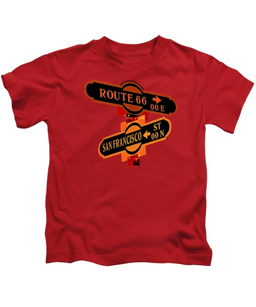 Route 66 Street Sign Stylized Colors Kids T-Shirt