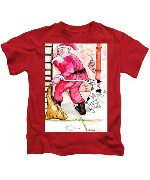 Santa Climbs The Ladder Kids T-Shirt