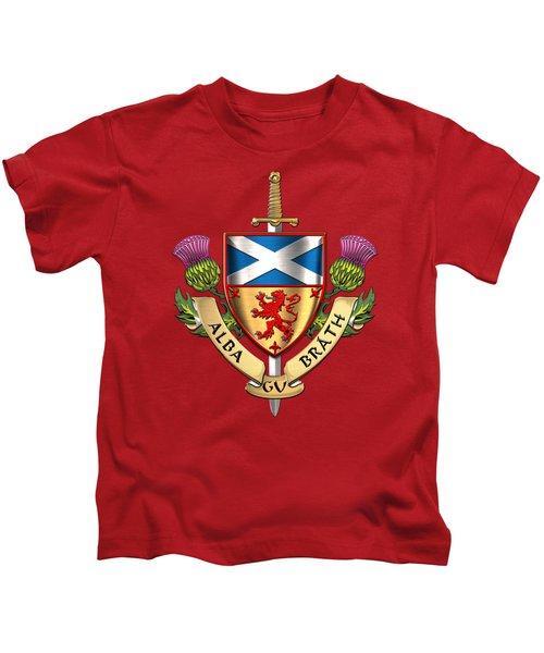 Scotland Forever - Alba Gu Brath - Symbols Of Scotland Over Red Velvet Kids T-Shirt