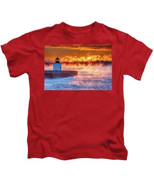 Seasmoke At Salem Lighthouse Kids T-Shirt