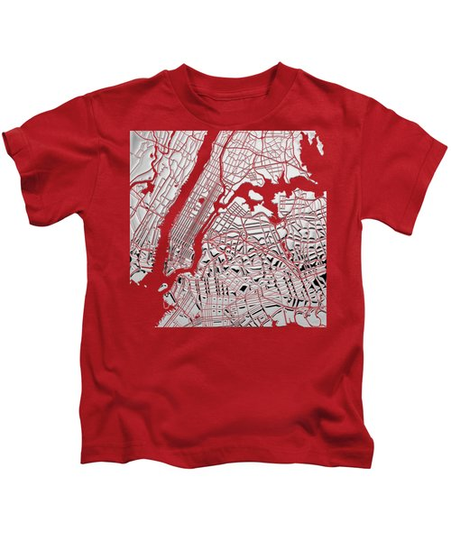 Silver Cities - Silver City Map New York On Red Kids T-Shirt