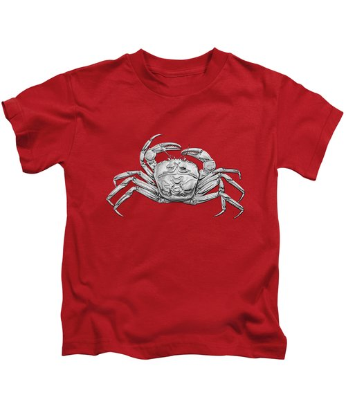 Silver Crab On Red Canvas Kids T-Shirt