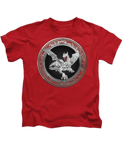 Silver Guardian Dragon Over Red Velvet  Kids T-Shirt