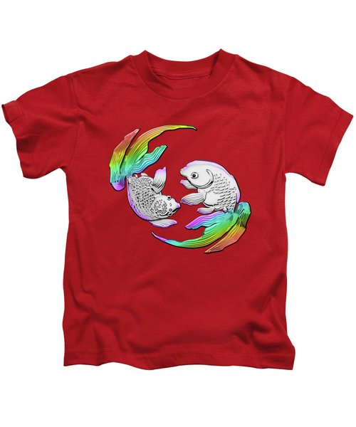 Silver Japanese Koi Goldfish Over Red Canvas Kids T-Shirt