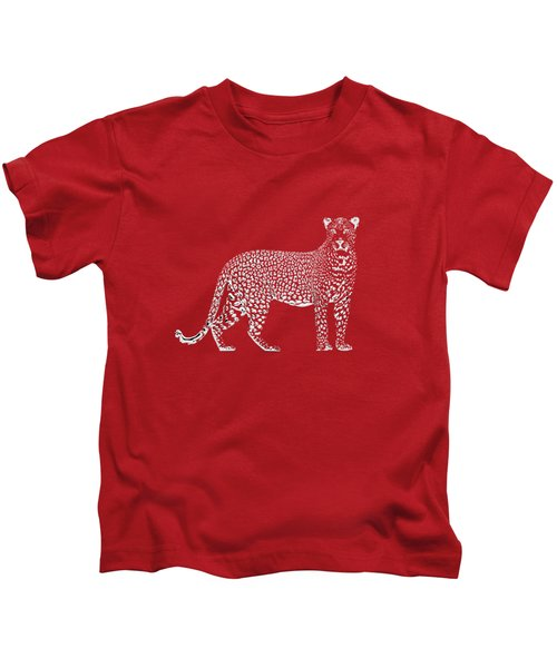 Silver Leopard On Red Canvas Kids T-Shirt