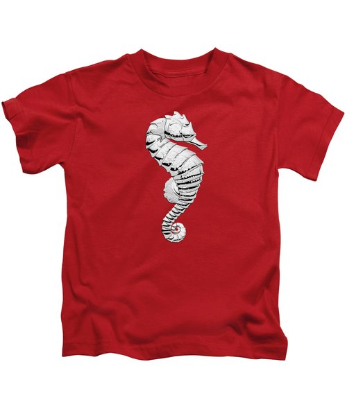 Silver Seahorse On Red Canvas Kids T-Shirt