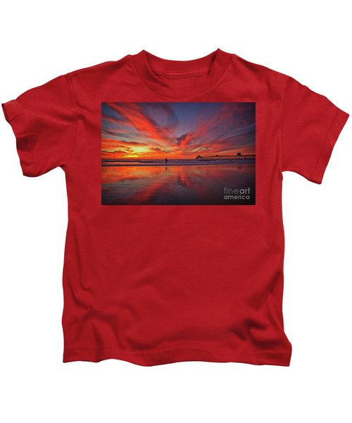 Sky On Fire At The Imperial Beach Pier Kids T-Shirt