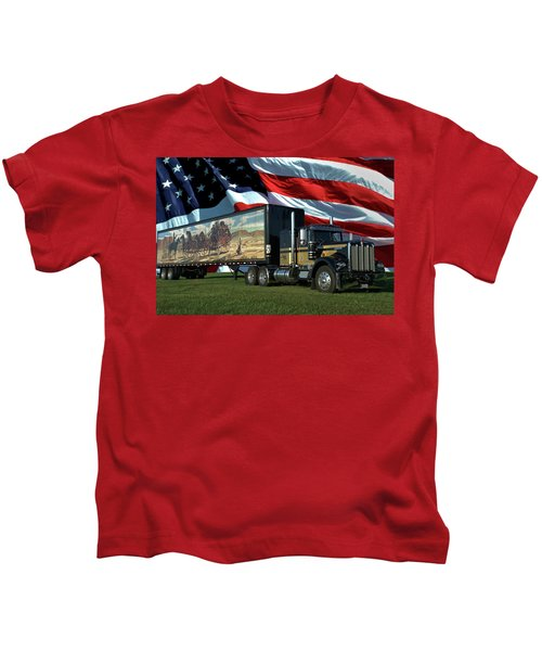 Snowmans Dream Semi Truck Kids T-Shirt