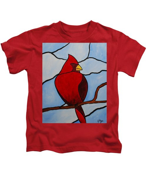 Stained Glass Cardinal Kids T-Shirt
