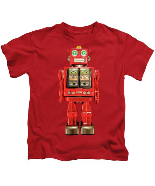 Star Strider Robot Red On Black Kids T-Shirt by YoPedro