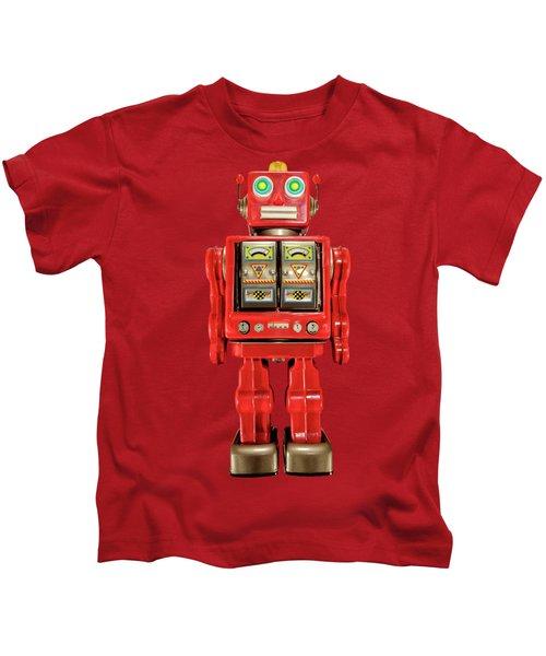 Star Strider Robot Red On Black Kids T-Shirt