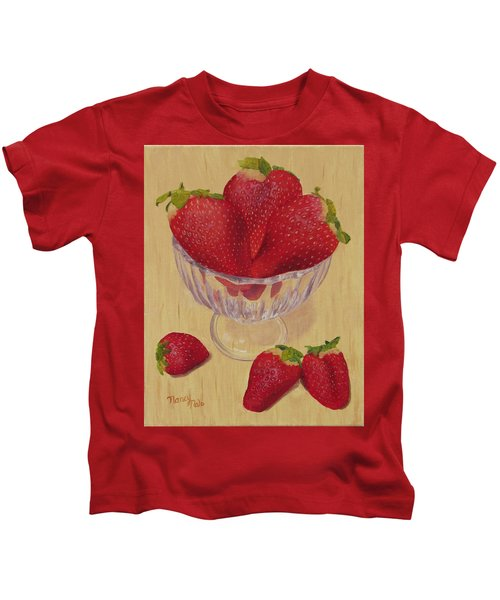 Kids T-Shirt featuring the painting Strawberries In Crystal Dish by Nancy Nale