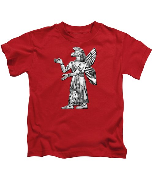 Sumerian Deities - Silver God Ninurta Over Red Canvas Kids T-Shirt