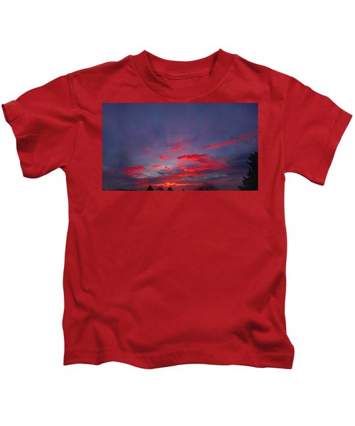 Sunrise Abstract, Red Oklahoma Morning Kids T-Shirt