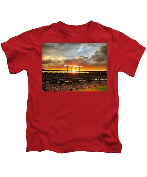 Kids T-Shirt featuring the photograph Sunset At Camden Yards by Chris Montcalmo