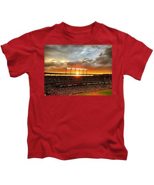 Sunset At Camden Yards Kids T-Shirt
