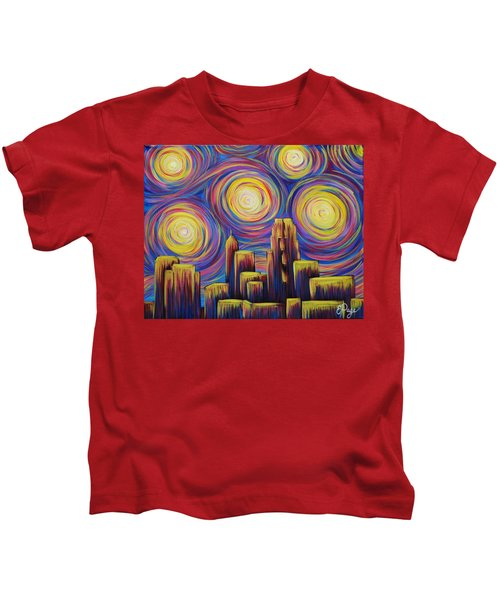 Sunset Over Raleigh Kids T-Shirt