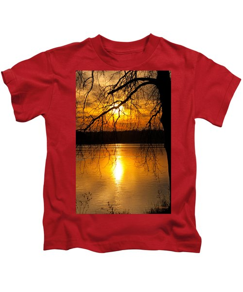 Sunset Over The Lake Kids T-Shirt