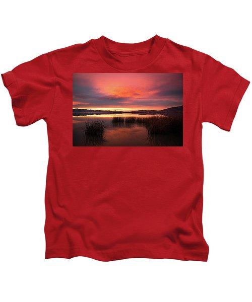Sunset Reeds On Utah Lake Kids T-Shirt