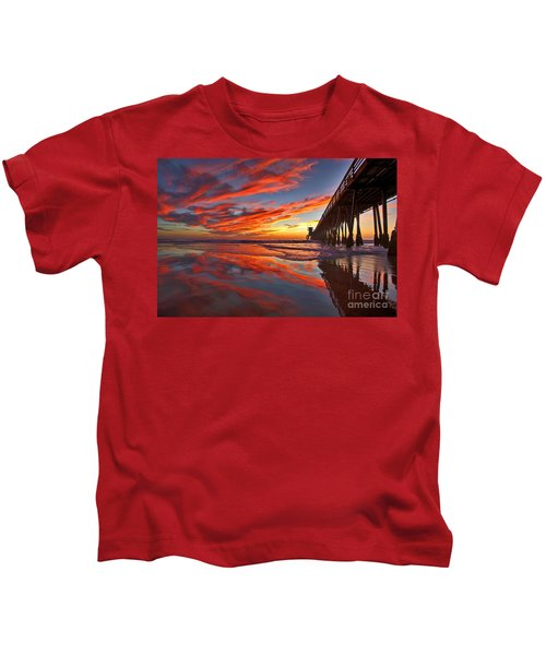 Sunset Reflections At The Imperial Beach Pier Kids T-Shirt