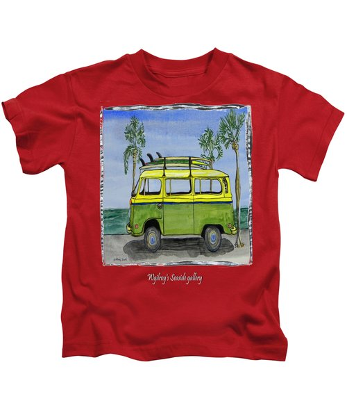 Surf Art Vw Bus And Long Boards  Kids T-Shirt