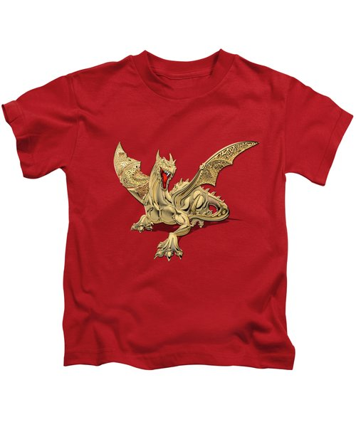 The Great Dragon Spirits - Golden Guardian Dragon On Red And Black Canvas Kids T-Shirt