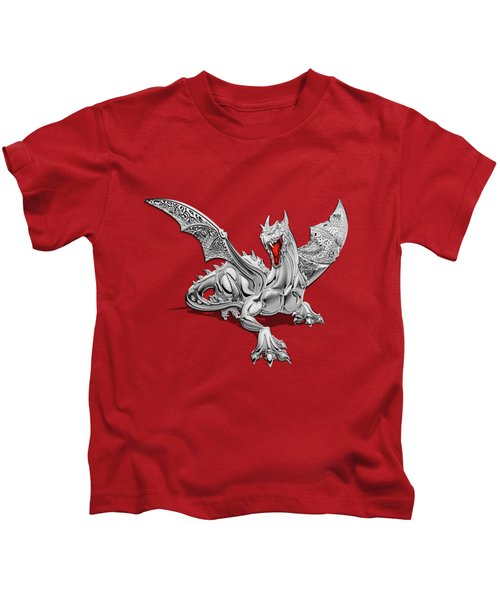 The Great Dragon Spirits - Silver Guardian Dragon On Black And Red Canvas Kids T-Shirt by Serge Averbukh