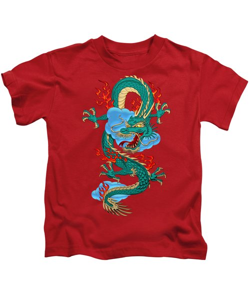 The Great Dragon Spirits - Turquoise Dragon On Red Silk Kids T-Shirt by Serge Averbukh