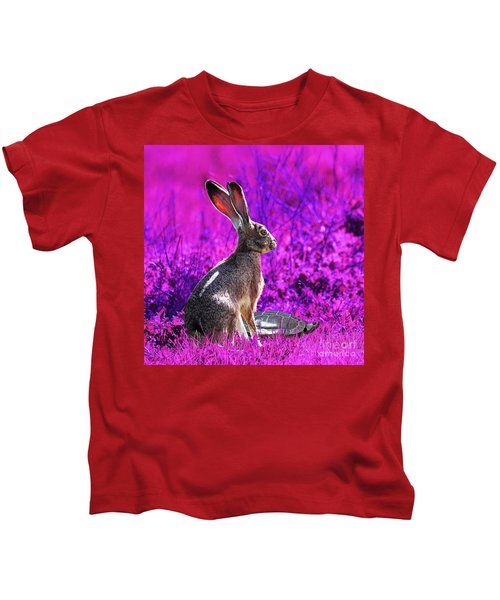 The Tortoise And The Hare . Magenta Square Kids T-Shirt