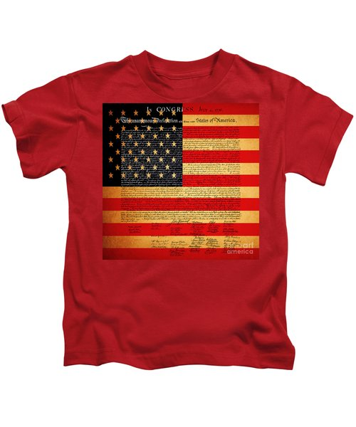 The United States Declaration Of Independence - American Flag - Square Kids T-Shirt