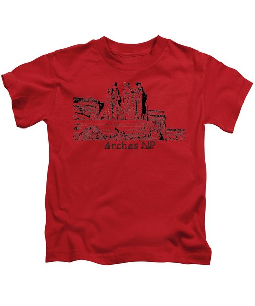 Three Gossips Drawing At Arches Kids T-Shirt