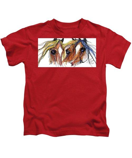 Three Horses Talking Kids T-Shirt