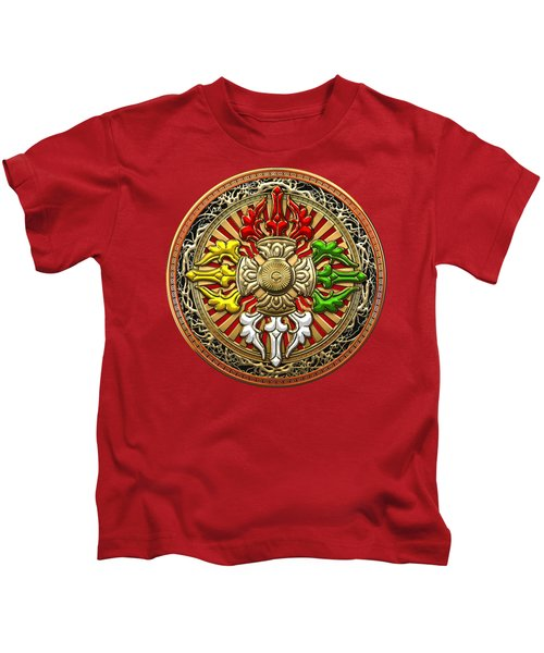 Tibetan Double Dorje Mandala - Double Vajra On Red Leather Kids T-Shirt