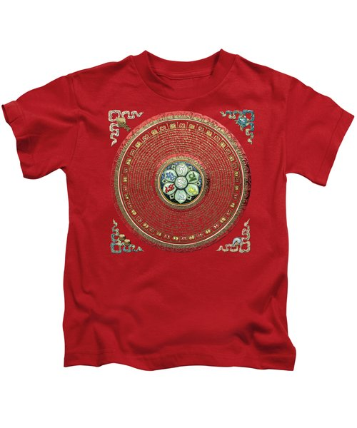 Tibetan Om Mantra Mandala In Gold On Black And Red Kids T-Shirt