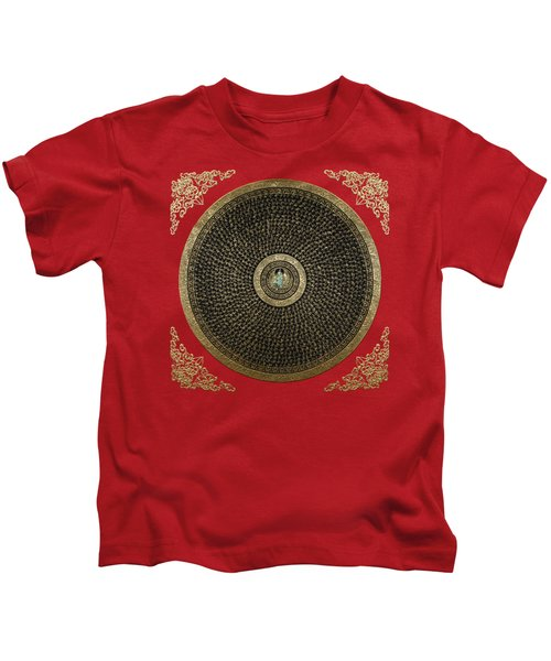 Tibetan Thangka - Green Tara Goddess Mandala With Mantra In Gold On Red Kids T-Shirt