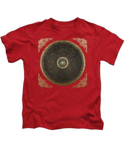 Tibetan Thangka - Green Tara Goddess Mandala With Mantra In Gold On Red Kids T-Shirt