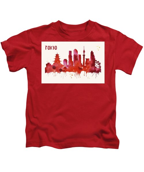 Tokyo Skyline Watercolor Poster - Cityscape Painting Artwork Kids T-Shirt by Beautify My Walls