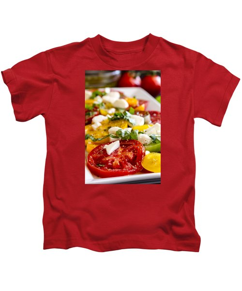 Tomatoes, Basil And Cheese Kids T-Shirt