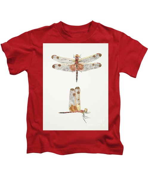 Top And Side Views Of A Male Calico Pennant Dragonfly Kids T-Shirt