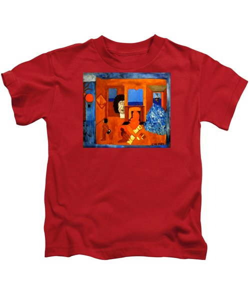 Kids T-Shirt featuring the painting Trying To Find The Way Out Or Is It Better To Stay   by Colette V Hera  Guggenheim