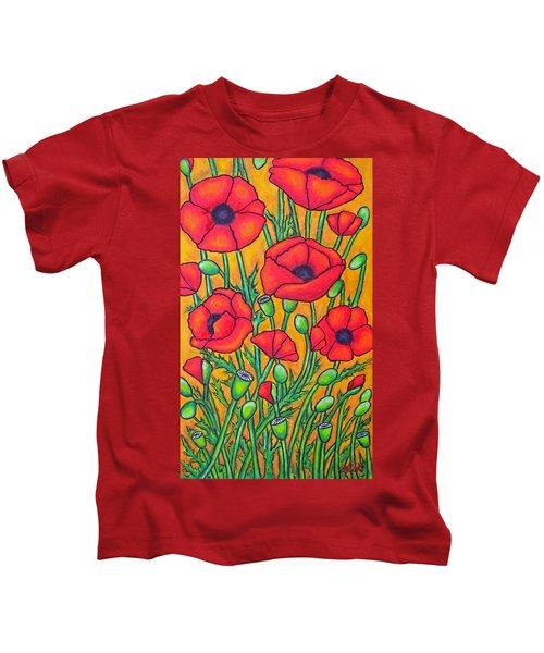 Tuscan Poppies - Crop 2 Kids T-Shirt