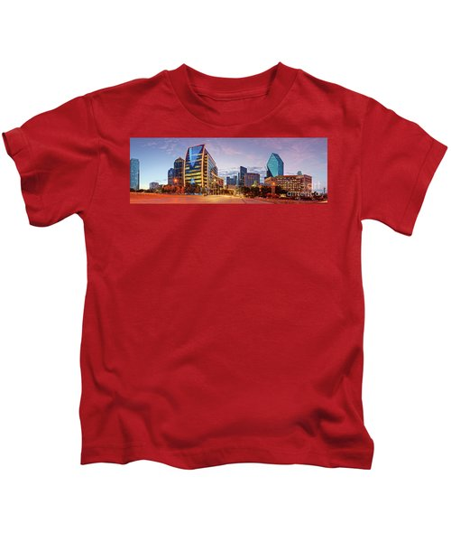 Twilight Panorama Of Downtown Dallas Skyline - North Akard Street Dallas Texas Kids T-Shirt