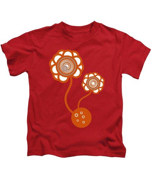 Two Orange Flowers Kids T-Shirt by Frank Tschakert