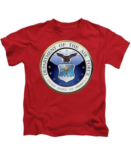U. S.  Air Force  -  U S A F Emblem Over Red Velvet Kids T-Shirt