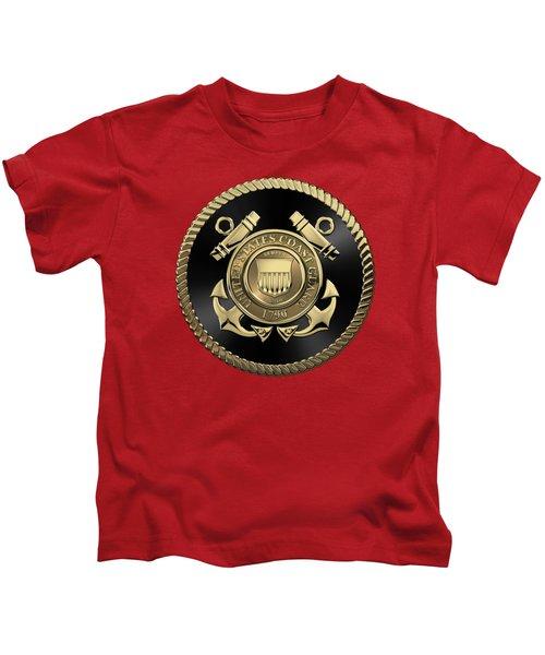 U. S.  Coast Guard  -  U S C G Emblem Black Edition Over Red Velvet Kids T-Shirt
