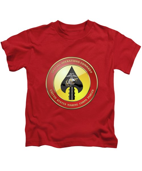 U S M C  Forces Special Operations Command -  M A R S O C  Seal Over Red Velvet Kids T-Shirt