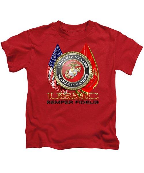 U. S. Marine Corps U S M C Emblem On Red Kids T-Shirt