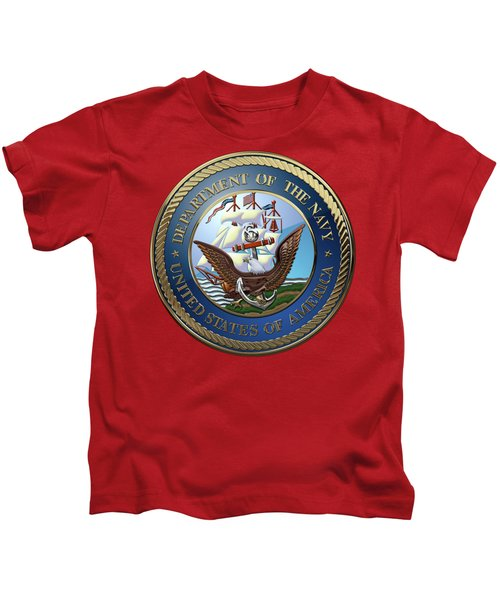 U. S.  Navy  -  U S N Emblem Over Red Velvet Kids T-Shirt